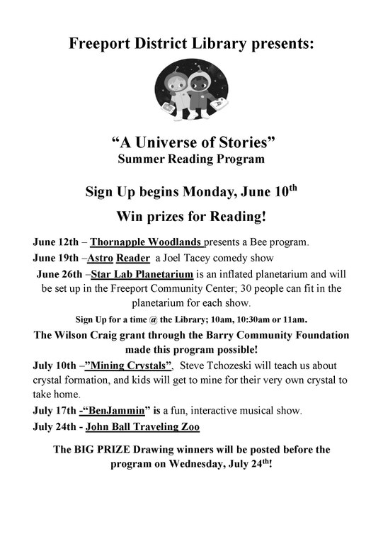 2019 Summer Reading Activities