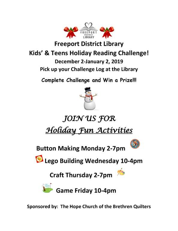 kid holiday challenge 2019